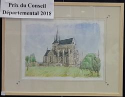 Eglise de Royaucourt-et-Chailvet, aquarelle